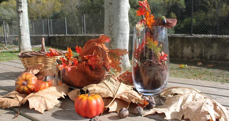 decoración de otoño con pañuelos